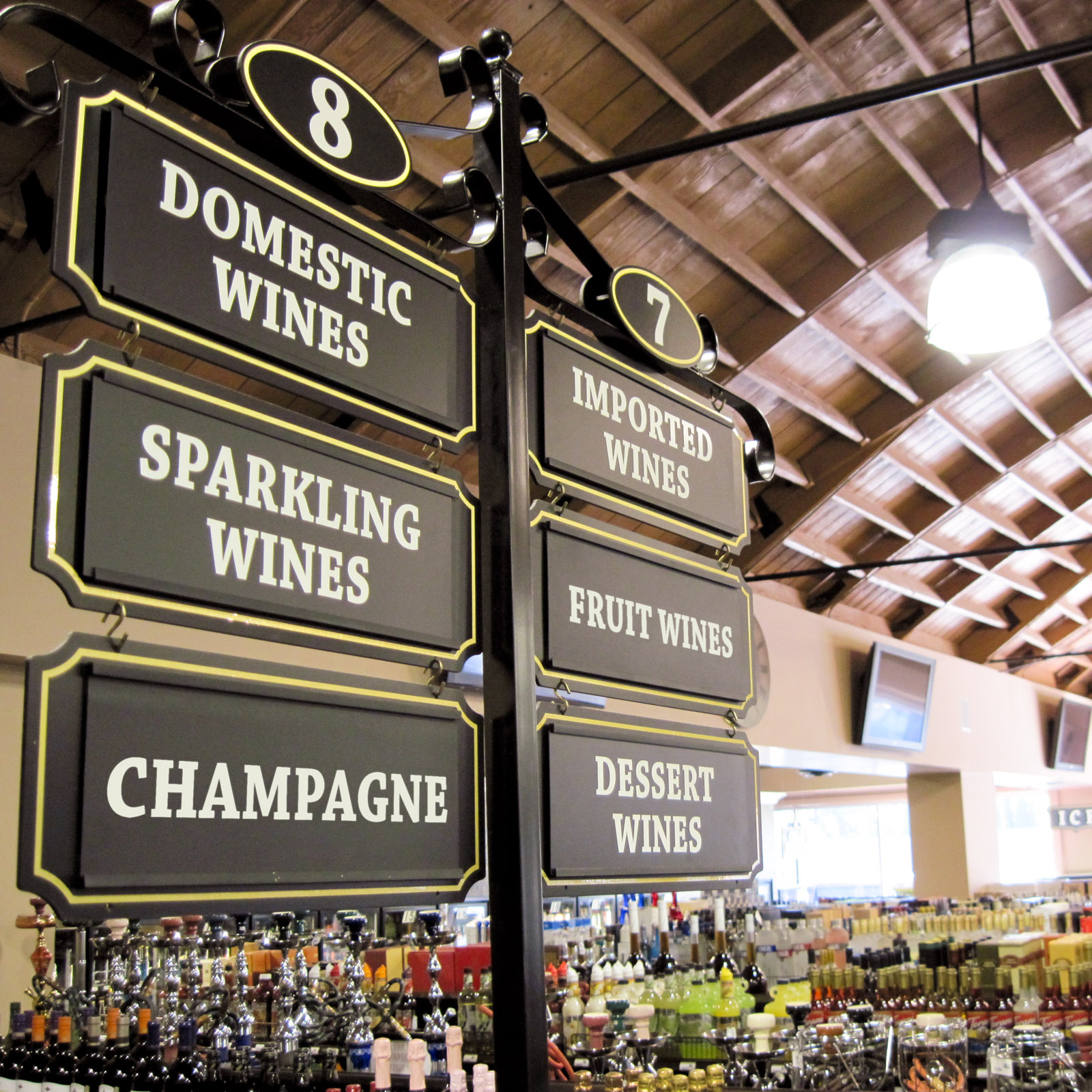 Mission Wine & Spirits - Aisle Sign